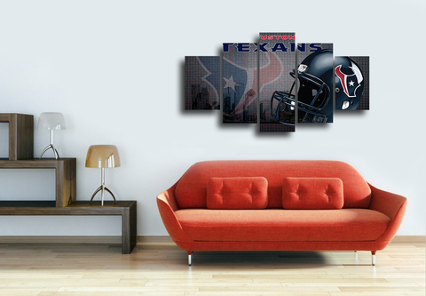 HD Printed Houston Texans Logo American Football 5 Pieces Canvas