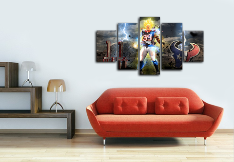HD Printed J.J Watt - Super Saiyan 5 Pieces Canvas