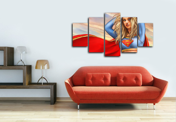 HD Printed Supergirl DC Comics 5 Pieces Canvas