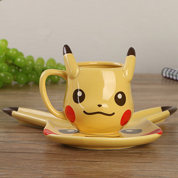 Creative Pokemon Pikachu Travel Coffee Mug Ceramic Tea Water Bottle Cup Adult Kids Gifts Espresso Cups