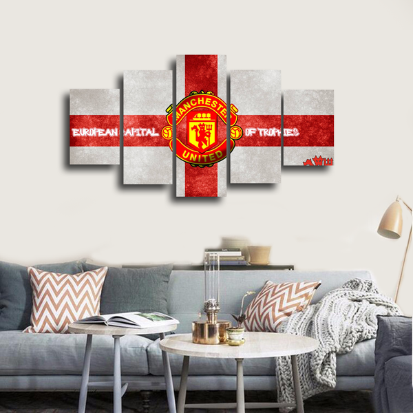 HD Printed Manchester United Football Logo 5 Pieces Canvas