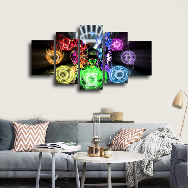 HD Printed Green Lantern New Guardians 5 Pieces Canvas