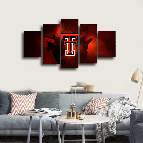 HD Printed Texas Tech University Logo 5 Pieces Canvas
