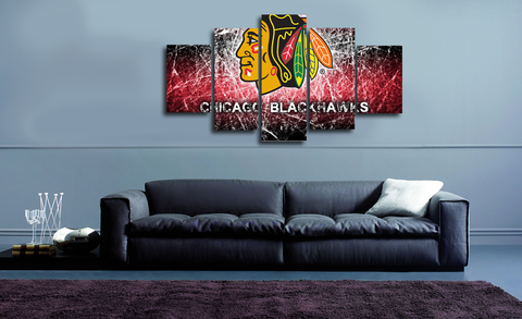 HD Printed Chicago Blackhawks 5 Pieces Canvas