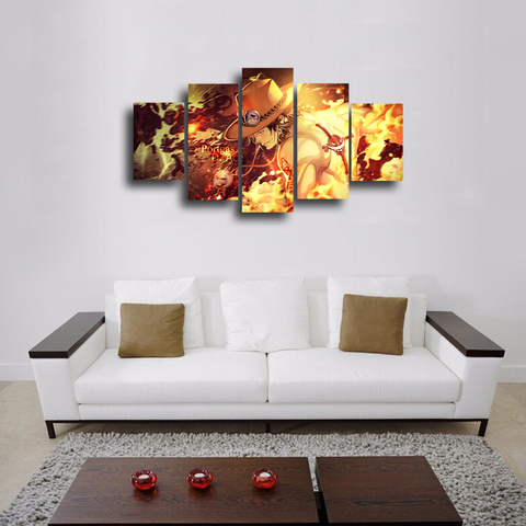 "HD Printed ""Fire Fist"" Ace 5 Pieces Canvas"