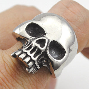Cool Stainless Steel Rings For Men Trendy Smooth Polishing Big Tripple Skull Ring Punk Biker