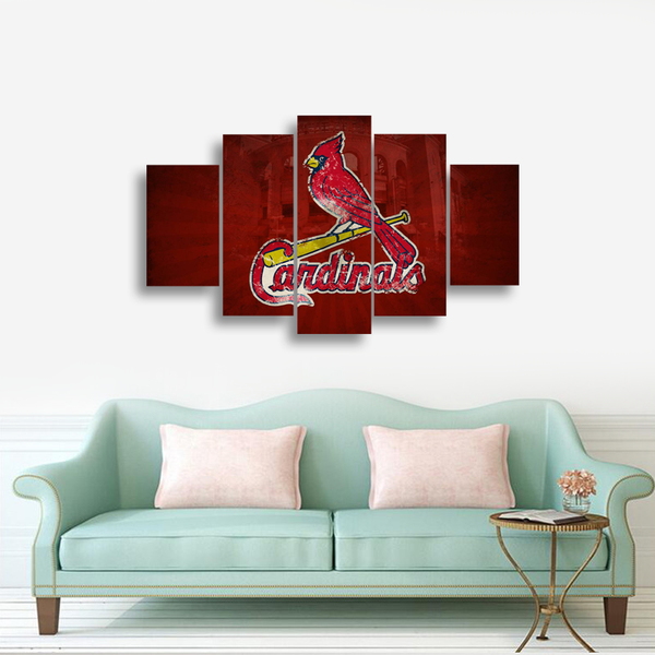 HD Printed St.Louis Cardinals Baseball Logo 5 Pieces Canvas