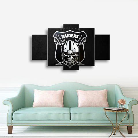 HD Printed Oakland Raiders Football Logo 5 Pieces Canvas