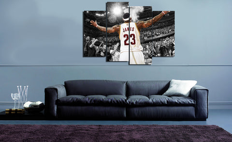 HD Printed Basket Ball - LeBron James 23 4 Piece Canvas