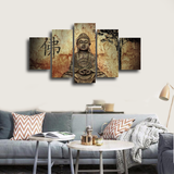 HD Printed Buddha 5 Pieces Canvas