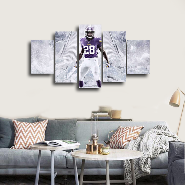HD Printed Vikings Football Adrian Peterson 5 Pieces Canvas