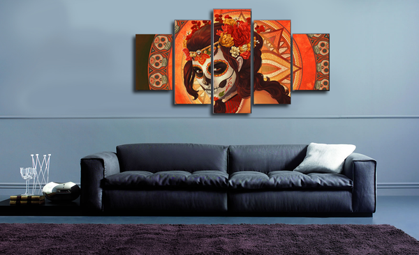 HD Printed Day of The Dead 5 Piece Canvas