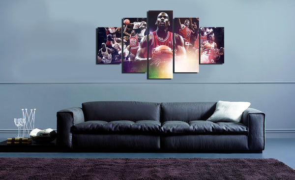 HD Printed NBA Basketball Michael Jordan 23 5 Piece Canvas
