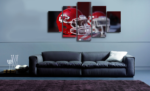 HD Printed Kansas City Chiefs Helmet 5 Pieces Canvas