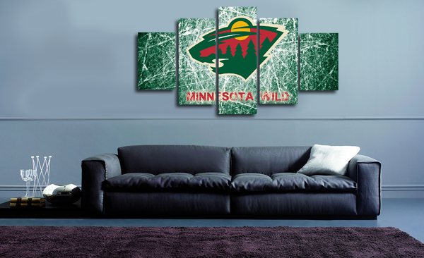 HD Printed Minnesota Wild Hockey Logo 5 Pieces Canvas
