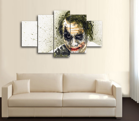 HD Printed Joker Batman Portrait 5 Piece Canvas