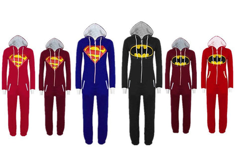 2016 Hot Sale New Unisex Men And Women Onesize Superman & Batman Hooded Zip Front Jumpsuit For Adults