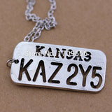 Pendants Supernatural Necklace KANSAS KAZ 2Y5 Letter Logo Pendant For Lover Castiel Wings Angel Wicca Jewelry