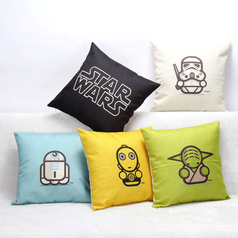 Cartoon Star Wars Series Cotton Linen Throw Pillow Sofa Office Back Cushion Baby Room Decorative