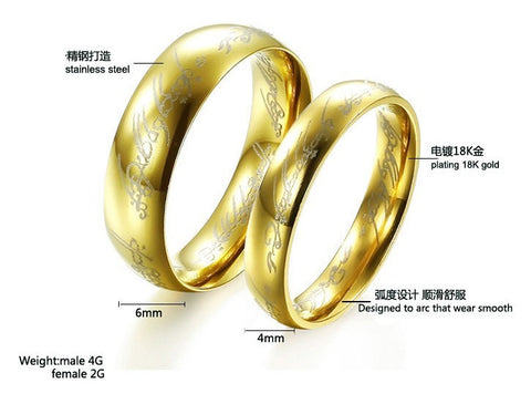 one ring of power gold silver black the lord of rings women finger wedding band fashion - The One Ring Wedding Band