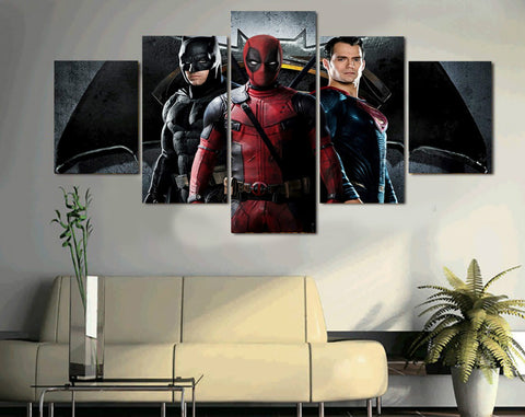 HD Printed Batman Superman DeadPool 5 Piece Canvas