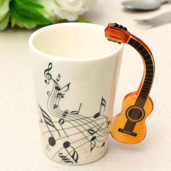 NOVELTY 220ML GUITAR CERAMIC CUP PERSONALITY MUSIC NOTE MILK JUICE LEMON MUG