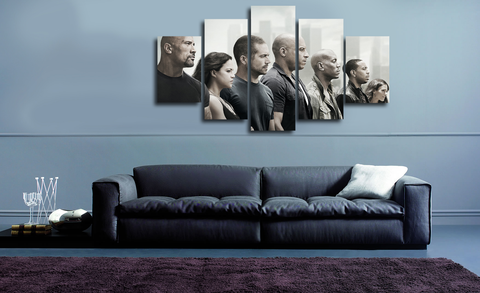 HD Printed Paul Walker - Fast And Furious 7 5 Pieces Canvas