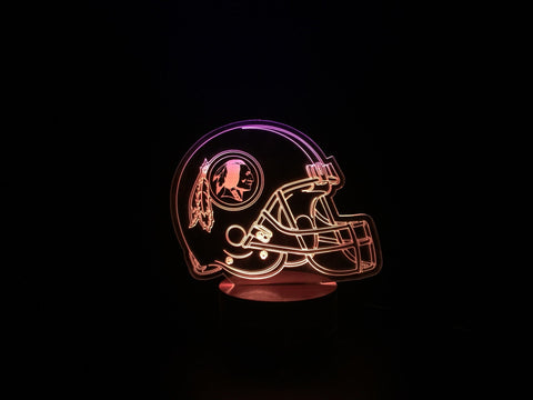 3D Washington Redskins Led Desk Lamp Flash Changing Colour