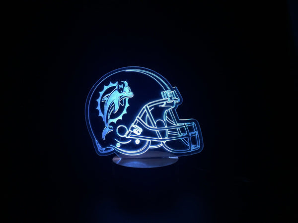 3D Miami Dolphins Led Desk Lamp Flash Changing Colour
