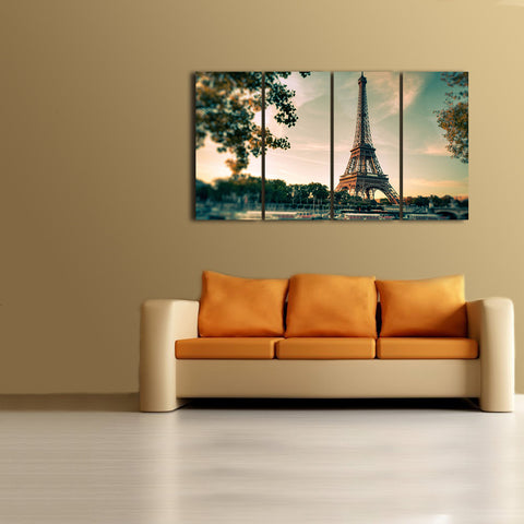 HD Printed Eiffel Tower 4 Pieces Canvas
