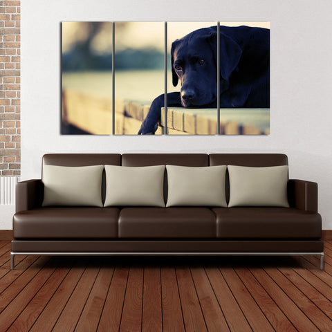 HD Printed Dog 4 Pieces Canvas D