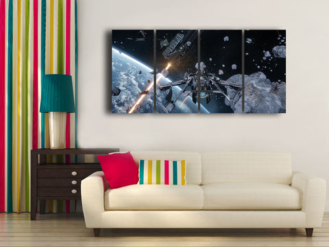 HD Printed Star Citizen 4 Pieces Canvas C