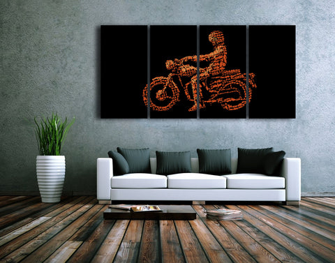 HD Printed Biker - Sports 4 Pieces Canvas A
