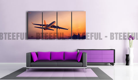 HD Printed Airplane - Landscape 4 Pieces Canvas A