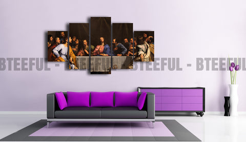 HD Printed Last Supper of Jesus - Religion 5 Pieces Canvas A
