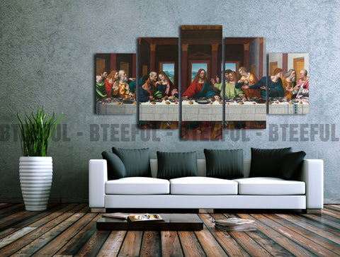HD Printed Last Supper of Jesus - Religion 5 Pieces Canvas B