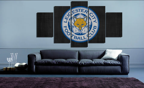 HD Printed Leicester City Fc Foxes Logo 5 Pieces Canvas