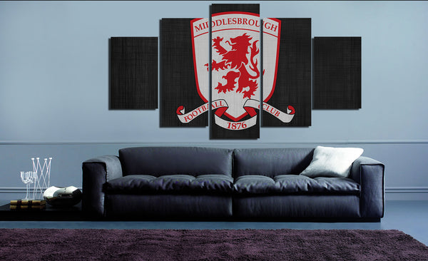 HD Printed Middlesbrough FC Logo 5 Pieces Canvas