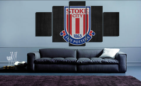 HD Printed Stoke City FC Logo 5 Pieces Canvas