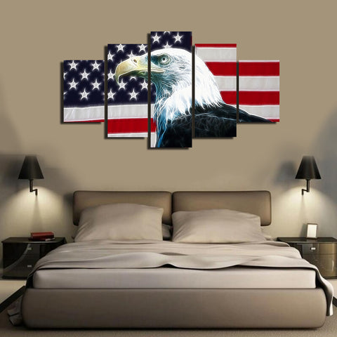 HD Printed Eagle USA Flag 5 Pieces Canvas A