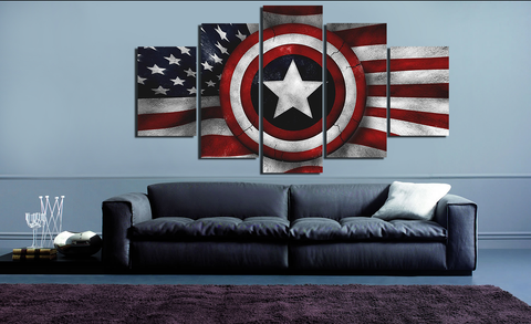 HD Printed American Flag 5 Pieces Canvas C