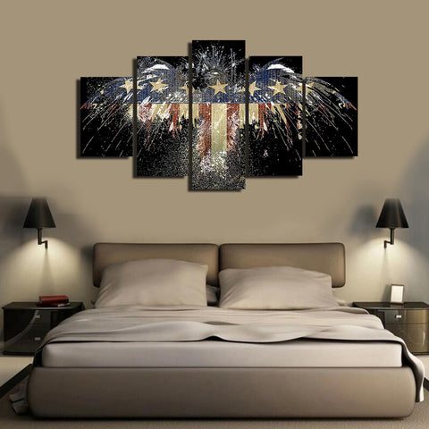 HD Printed American Flag 5 Pieces Canvas B
