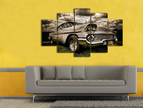 Hd Printed American Muscle Chevy Antique 5 Piece Canvas