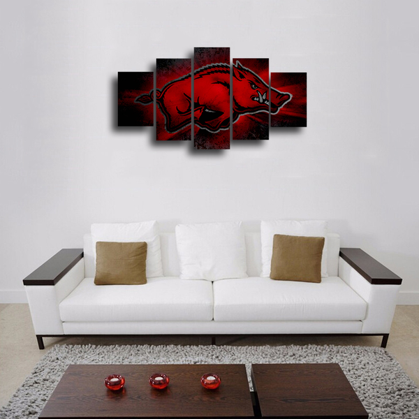 HD Printed Arkansas Razorbacks Logo 5 Pieces Canvas