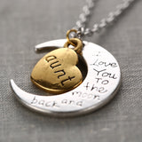 2015 Fashion I Love You to the Moon and Back Necklace Moon Heart Pendant Mum Dad Sis Bro Uncle Aunt Grandapa Grandma Cheap Jewel