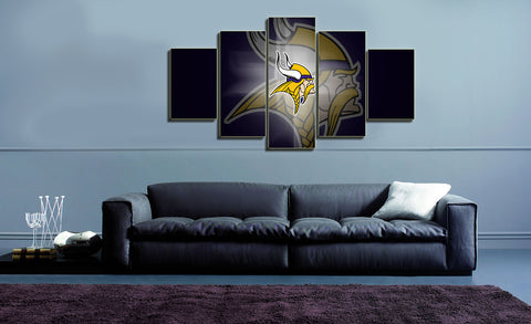 HD Printed Vikings NFL Football 5 Pieces Canvas