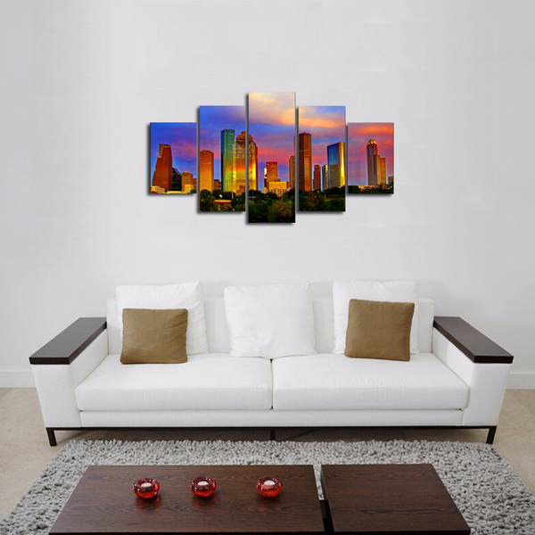 HD PRINTED HOUSTON SKYLINE 5 PIECES CANVAS