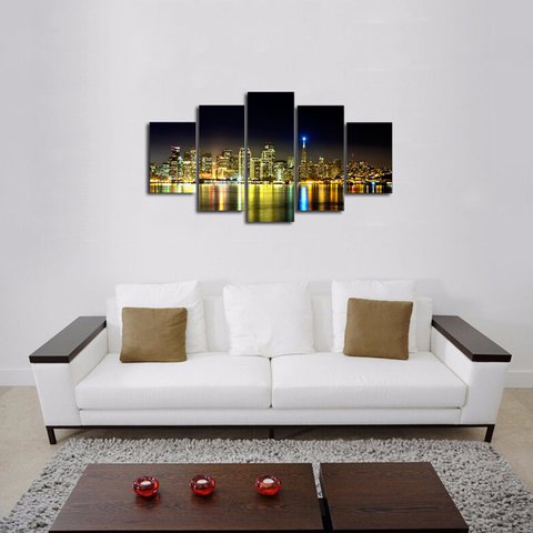 HD PRINTED HOUSTON SKYLINE NIGHT 5 PIECES CANVAS