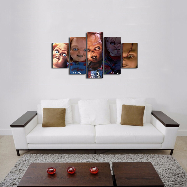 HD Printed Chucky Horror FIlm 5 Pieces Canvas