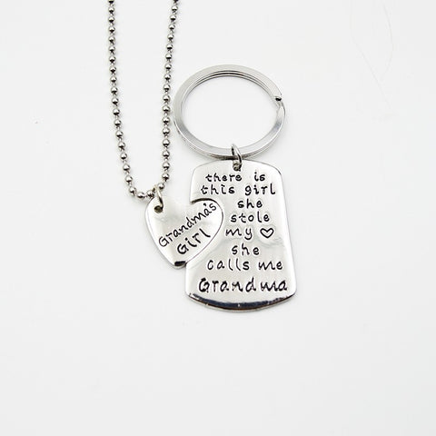 "New Family Jewelry ""there is this girl she stole my heart she calls me DADDY GRANDPA GRANDMA"" Pendant Necklaces/ Key chain"
